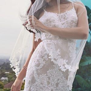 Moonstone embellished plus size lace wedding dress